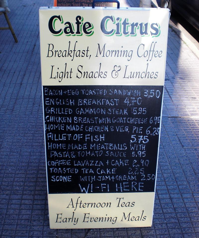 cafe citrus chalkboard