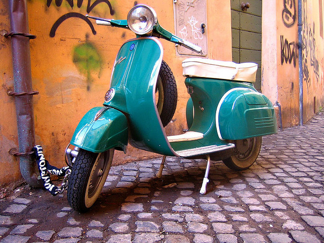 Vespa half-day tours in Barcelona are extremely fun - copyright antmoose