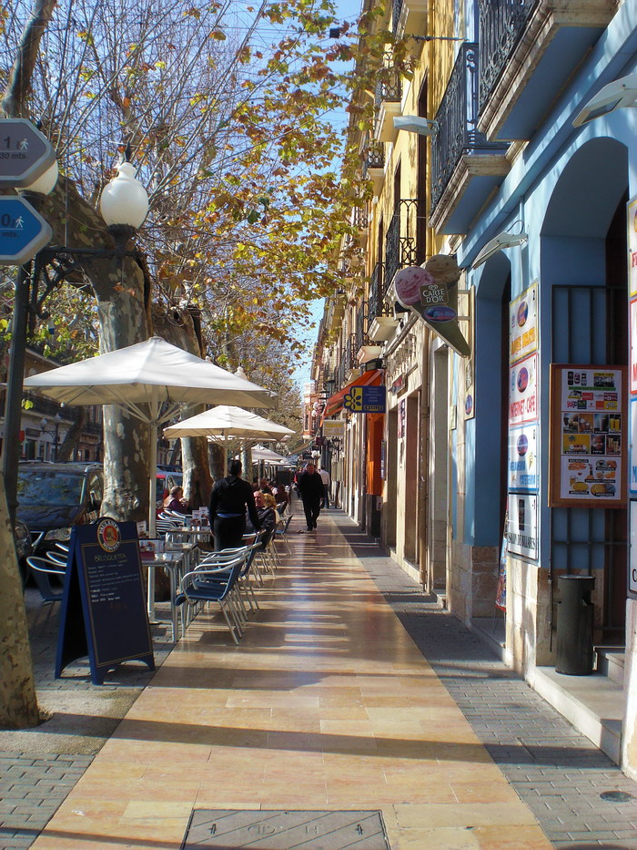 Denia's main street, even in chilly February, is lovely