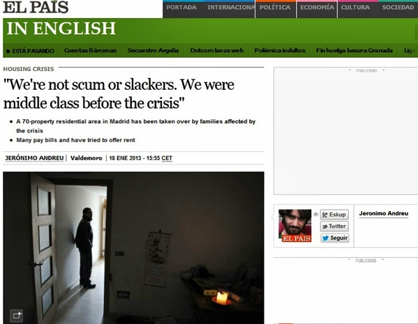 middle class Spaniards squatting in abandoned buildings