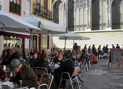 The cafes to the right of Central Mercado are a wonderful place to people watch.