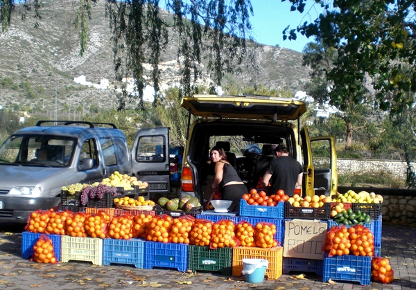 spanish oranges sold market